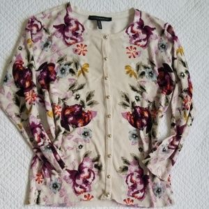 WHBM Floral Cardigan cream button front 3/4 sleeve